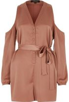 River Island Wocopper Cold Shoulder Satin Playsuit