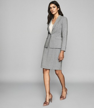 Reiss Romy Skirt - Wool Blend Wrap Front Pencil Skirt in Grey