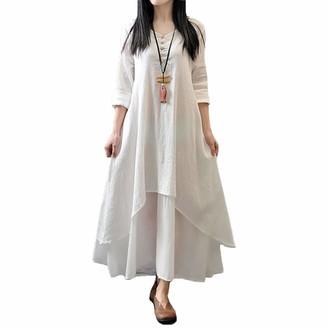 "WSLCN Women Summer Casual Irregular Maxi Dresses Vintage Swing Cotton Linen Boho Plus Size Long Sleeve Loose Dress A Bust 41.7"" (Asian L)"