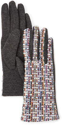 David & Young Women's Casual Gloves Grey - Gray & White Woven Touch Screen Gloves