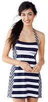 Classic Women's Petite Beach Living Dresskini Swimsuit Top-Deep Sea Stripe