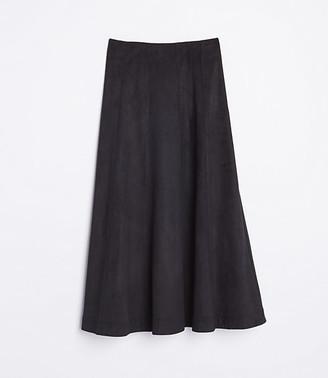 LOFT Faux Suede Midi Skirt
