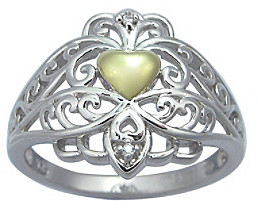 Precious Moments .01 ct. t.w. Diamond and Sterling Silver Two-Tone Heart Ring