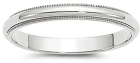 Bloomingdale's Men's 3mm Half Round Milgrain Band 14K White Gold - 100% Exclusive