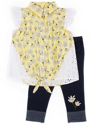 Little Lass Toddler Girl Eyelet Shirt & Capris Set
