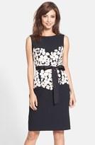 NUE by Shani Women's Floral Applique Crepe Sheath Dress