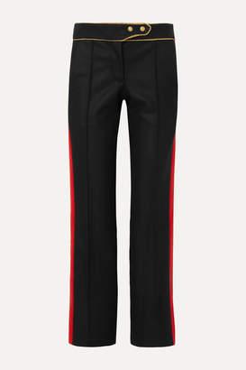 Paco Rabanne Striped Wool-blend Straight-leg Pants - Black