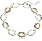 """Anne Klein Bal Harbor"""" Silver-Tone Black, Mother-Of-Pearl Collar Necklace, 16"""" + 2.5"""" Extender"""