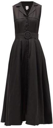 Gül Hürgel Sleeveless Linen Shirtdress - Womens - Black