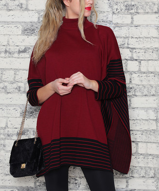 Aqe Fashion AQE Fashion Women's Ponchos BURGUNDY - Burgundy & Black Mock-Neck Oversize Pullover - Women