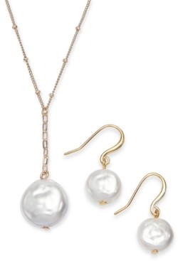 Alfani Gold-Tone 2-Pc. Set Imitation Pearl Pendant Necklace & Matching Drop Earrings, Created for Macy's