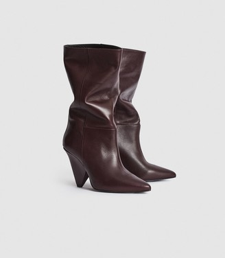 Reiss Jax - Leather Calf Length Boots in Plum