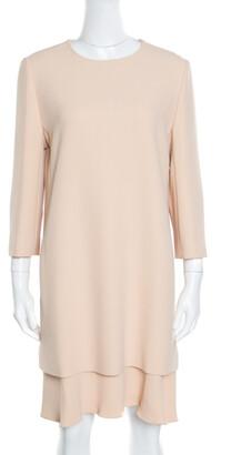 Chloé Beige Crepe Layered Ruffled Hem Long Sleeve Dress M