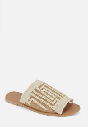 Missguided Beige Frill Slip On Sandals