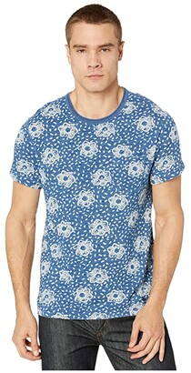 J.Crew Wallace Barnes Slub Jersey Indigo Short Sleeve Tee (Watercolor Flower Blue/Black) Men's Clothing