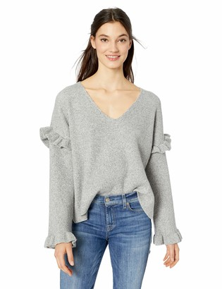 Cupcakes And Cashmere Women's Gearheart Slouchy V-Neck Sweater w/Ruffles