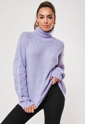 Missguided Lilac Cable Knit Sleeve Turtle Neck Sweater