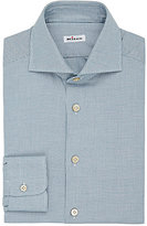 Kiton Men's Micro-Houndstooth Cotton Shirt-TURQUOISE