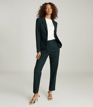 Reiss Sadie - Wool-blend Cropped Blazer in Green