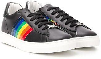 DSQUARED2 TEEN rainbow stripe sneakers