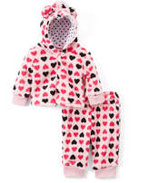 Sweet & Soft Pink & Black Heart Hoodie & Sweatpants - Infant