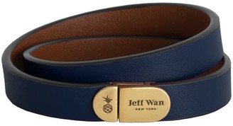 Jeff Wan Leather Bracelet With Magnetic Closure Navy Manhattan