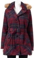 Urban Republic Juniors' Plaid Faux-Fur Wool Blend Jacket