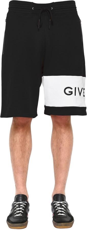Givenchy Logo Embroidered Jersey Bermuda Shorts
