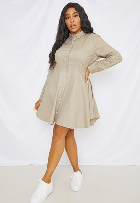 Missguided Plus Size Sage Mock Pearl Button Skater Shirt Dress