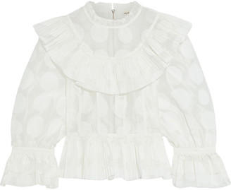Ulla Johnson Edna Ruffled Polka-dot Cotton And Silk-blend Organza Blouse