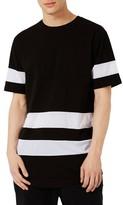 Topman Men's Mesh Stripe Longline T-Shirt