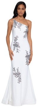 Xscape Evenings Petite One-Shoulder Embroidered Gown