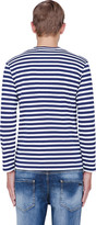 Comme des Garcons Navy Striped Logo Print T-Shirt