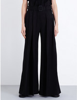 Yang Li Torn wide-leg wool trousers