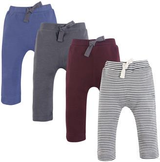 Luvable Friends Boys' Casual Pants Charcoal/Burgundy - Charcoal & Burgundy Organic Cotton Harem Pants Set - Newborn & Infant