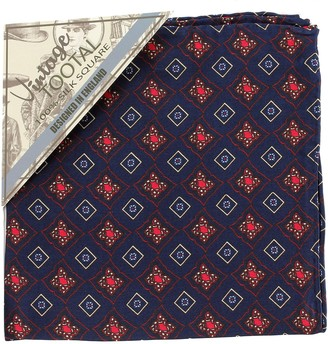 Tootal Vintage Navy Blue Diamond Tile Print Pocket Square