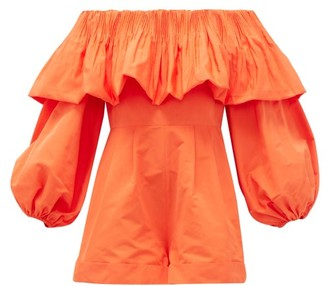 Valentino Off-the-shoulder Balloon-sleeve Faille Playsuit - Womens - Orange