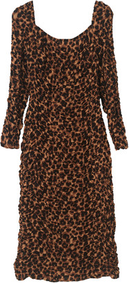 By Malene Birger Amyna Ruched Leopard-Print Muslin Midi Dress