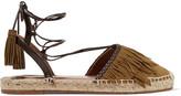 Aquazzura Pocahontas Leather-trimmed Suede Espadrilles - Army green