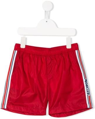 Moncler Enfant Logo Embroidered Swim Shorts