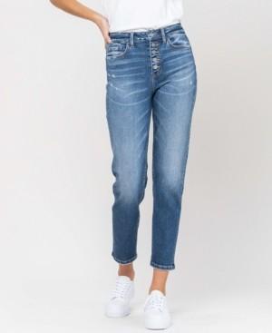 VERVET Women's Button Up Stretch Mom Jeans