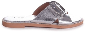 Linzi VEGAS - Silver Slip On Slider With Crossover Front Strap Giant Buckle Detail