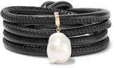 Mizuki Convertible 14-karat Gold, Leather And Pearl Wrap Bracelet - Black
