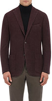 Boglioli Men's Plaid Wool Three-Button Sportcoat-BURGUNDY, BLACK