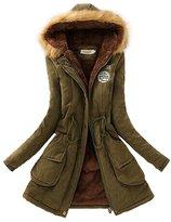 SODIAL(R) Women Hooded Fur Winter Thick Padded Long Coat Outerwear Jacket-L