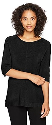 Sag Harbor Women's Elbow Sleeve Crew Neck Pullover