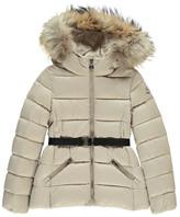 Moncler Aimeet Down Jacket with Fur Hood Beige