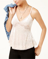 American Rag Juniors' Lace-Trimmed Crushed Velvet Cami, Created for Macy's