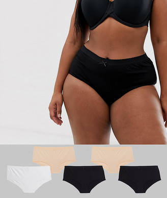 Yours curve 5 pack knickers in black white beige