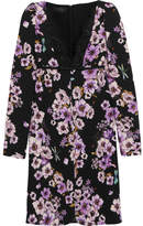 Giambattista Valli Lace-trimmed Floral-print Silk-crepe Mini Dress - Purple